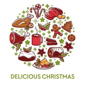 Kerst eten en gerechten, heerlijke maaltijd banner. gegrilde kip en taarten, ham en peperkoekkoekjes, lolly's en thee met marshmallow. decoratieve banner met menu, vector in vlakke stijl