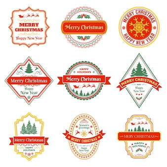 Kerst etiketten vintage xmas winter vakantie badges met rendieren fir tree sneeuwvlokken vector set