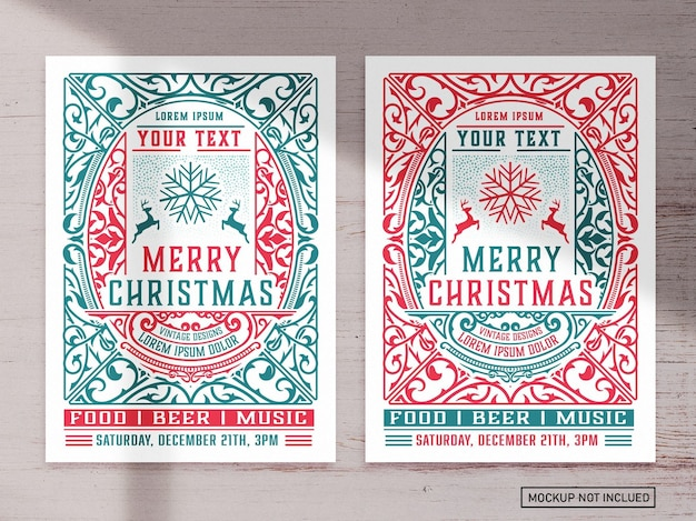 Kerst evenement grafische flyer lay-out