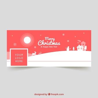 Kerst facebook cover in rood en wit