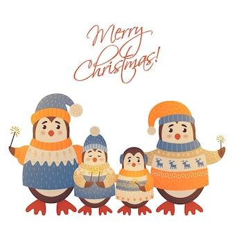 Kerst familie pinguïns vrolijk kerstfeest