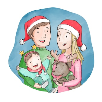 Kerst familie scène concept in aquarel