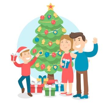 Kerst familie scène concept in plat ontwerp