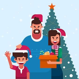 Kerst familie scène in plat ontwerp
