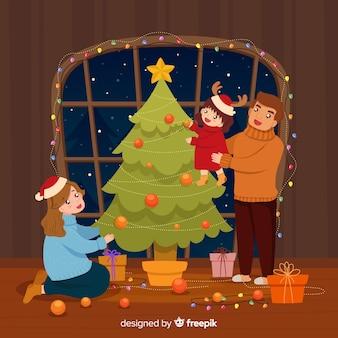 Kerst familie scene