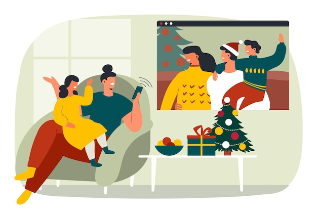 Kerst familie videocall
