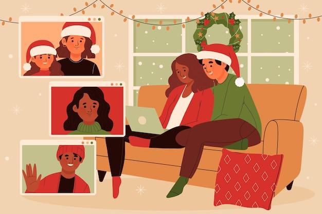 Kerst familie videogesprek