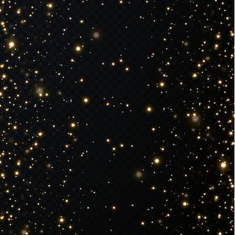 Kerst feestelijke achtergrond van lichte confetti. kleine glanzende gouden lampjes. glinsterende gouden textura.