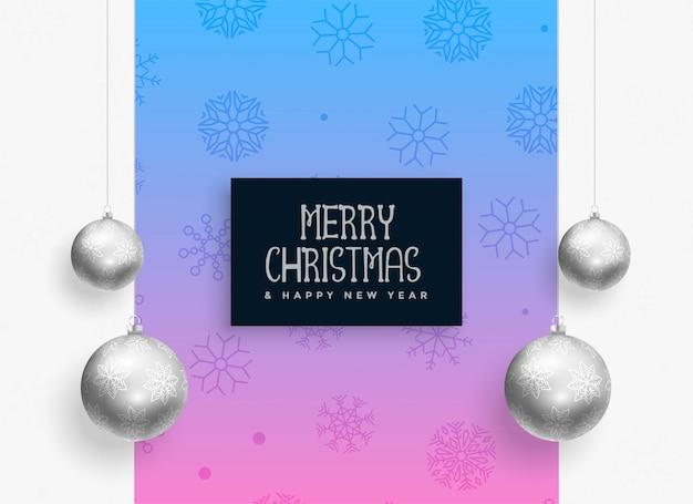 Kerst festival achtergrond met zilveren ballen