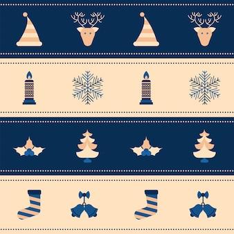 Kerst festival element patroon achtergrond in blauwe en bruine kleur.