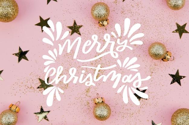 Kerst foto met letters en globes