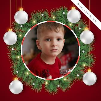 Kerst fotolijst met bal realistische kerst witte bal