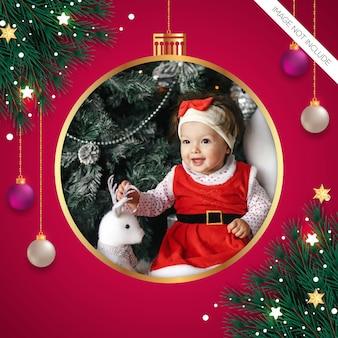 Kerst fotolijst pijnboomtak kerstbal