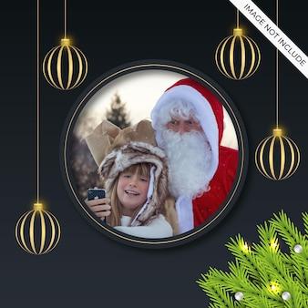 Kerst fotolijst social media post met gouden bal
