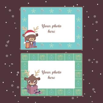 Kerst fotolijsten met feestelijke rendieren