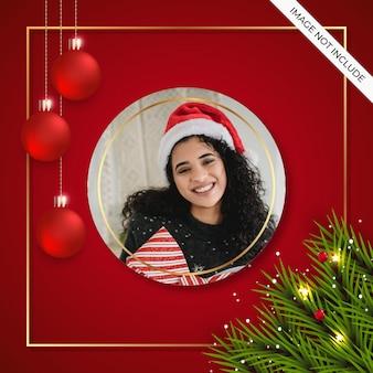 Kerst fotolijstje sociale media post met rode bal