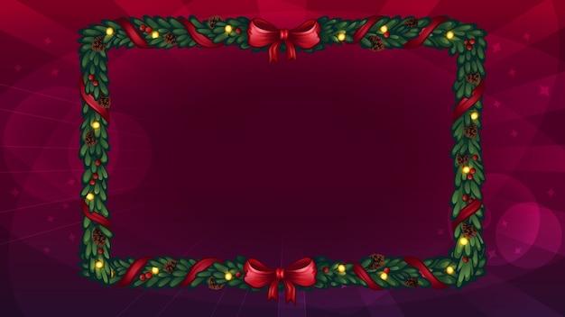 Kerst frame gemaakt van kerstboomtakken.