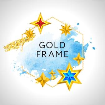 Kerst frame met blauwe aquarel splash en gouden sterren