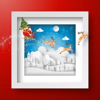 Kerst frame met kerstman en rendieren