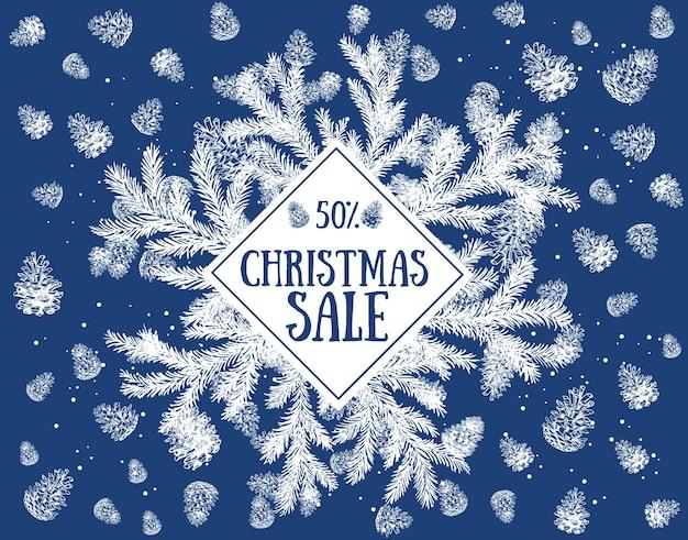 Kerst frame verkoop handgetekende illustratie
