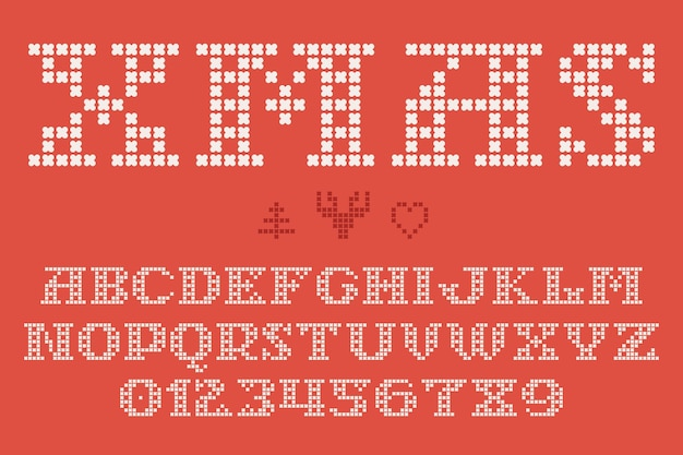 Kerst gebreid lettertype geïnspireerd op truiontwerpen gemaakt van gedurfde ronde breisels