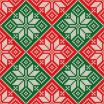 Kerst gebreide trui patroon ontwerp met sneeuwvlokken wol gebreide textuur imitatie