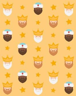 Kerst gele achtergrond, de drie koningen van orient voor inpakpapier patroon