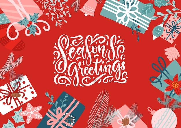 Kerst geschenkdozen. kerstgroet met ingepakte versierde cadeautjes in vlakke stijl. seizoensgroeten belettering handgetekende offerte.