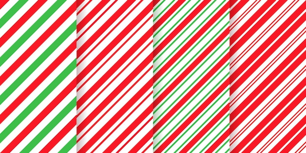 Kerst gestreepte achtergrond. kerstvakantie diagonale strepen. set van schattige karamel pakketprints.