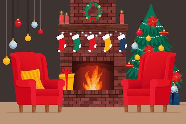 Kerst gezellig interieur met open haard kerstboom en fauteuil platte vectorillustratie