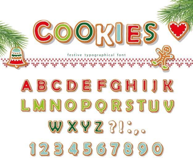 Kerst gingerbread cookie lettertype.