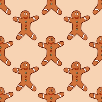 Kerst gingerbread man patroon achtergrond social media post kerst vectorillustratie