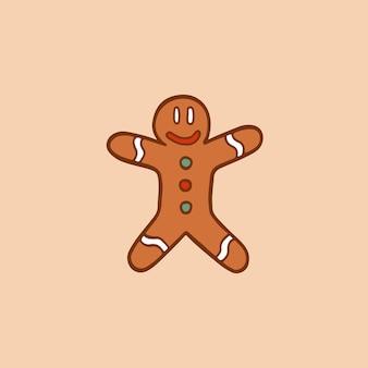 Kerst gingerbread man symbool social media post christmas vector illustration
