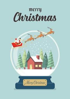 Kerst glazen bol met kerstman slee en winter huis wenskaart