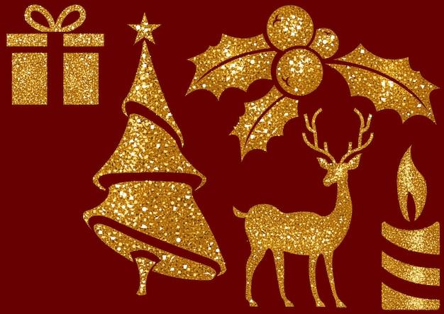 Kerst glitter design elementen op rode achtergrond