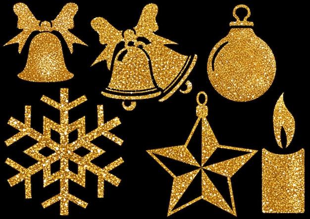 Kerst glitter ontwerpelementen op zwarte achtergrond
