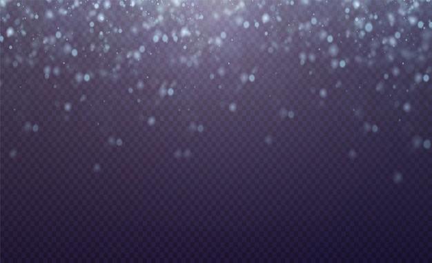 Kerst gloeiend licht bokeh blauwe confetti en vonk overlay textuur voor uw ontwerp