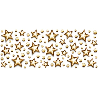 Kerst gouden sterren en kralen in rechthoek op witte achtergrond.