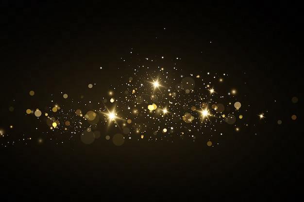 Kerst gouden stof, gele vonken en gouden sterren schijnen met een speciaal licht. vector schittert met sprankelende magische stofdeeltjes.