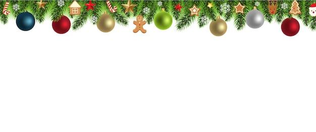 Kerst grens met kerst speelgoed illustratie