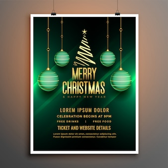 Kerst groen flyer poster sjabloon met bal en boom