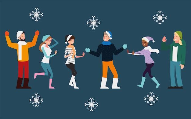 Kerst groep mensen vieren met sneeuwvlokken zwarte achtergrond afbeelding Premium Vector