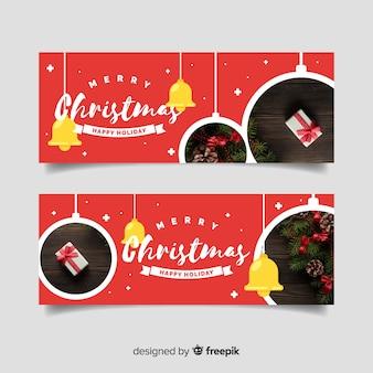 Kerst groet opknoping foto's banner
