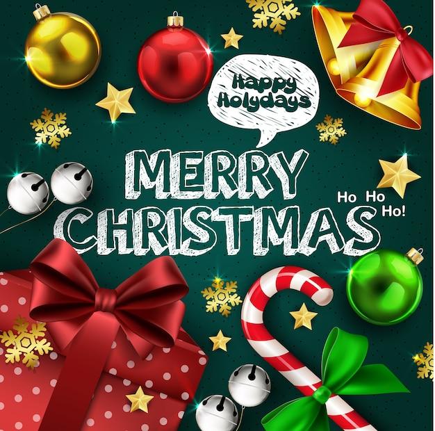 Kerst groeten banner met realistische kerst ornamenten