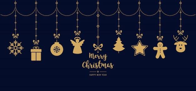 Kerst groeten gouden sieraad elementen opknoping blauwe achtergrond