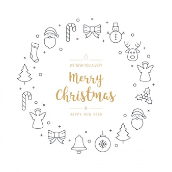 Kerst groeten krans pictogrammen elementen geïsoleerde achtergrond