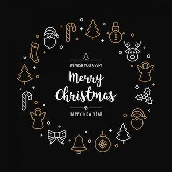 Kerst groeten krans pictogrammen elementen gouden zwart