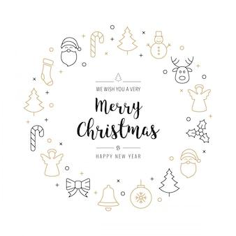 Kerst groeten krans pictogrammen elementen gouden