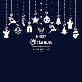 Kerst groeten sieraad elementen opknoping blauwe achtergrond