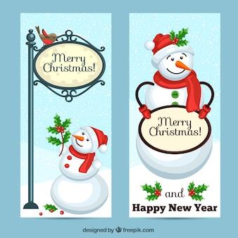 Kerst groeten sneeuwpop banner pak